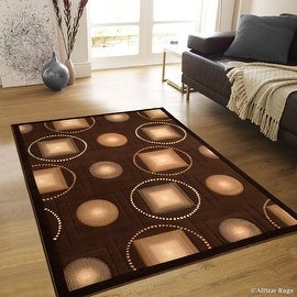 "AllStar Rugs Chocolate Abstract Modern Area Carpet Rug (7' 10"" x 10' 2"")"