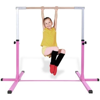 Goplus Adjustable Steel Horizontal Training Bar Gymnastics Junior Home - Pink