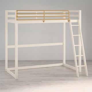 Little Seeds Monarch Hill Haven White Twin Metal Loft Bed