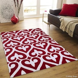 "AllStar Rugs Cherry Hand Made Modern. Transitional. design Area Rug with Dimensional hand-carving highlights (4' 11"" x 6' 11"")"