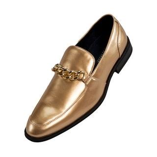Amali Mens Microfiber & Patent Slip on Dress Shoe