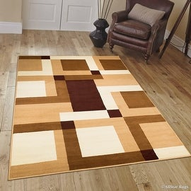 "Allstar Brown Area Rug. Contemporary. Abstract. Traditional. Geometric. Formal. Shapes. Squares (3' 9"" x 5' 1"")"