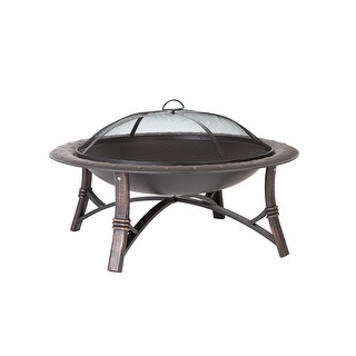 "Fire Sense 60857 35"" Wide Portable Wood Burning Round Bowl Fire Pit - Black Steel"