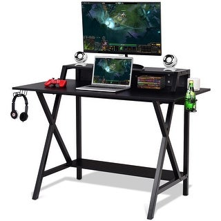Gymax Gaming Desk All-In-One Professional Gamer Desk Cup Headphone