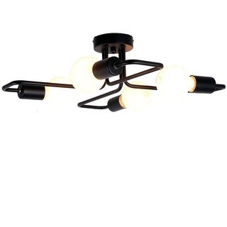 4 light antique black industrial ceiling light fixture