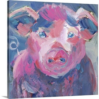 """Pinky Pig"" Canvas Wall Art"