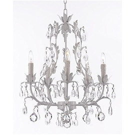 White Wrought Iron Floral Chandelier Lighting with Crystal Balls!