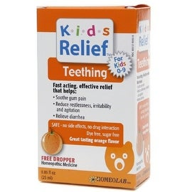 Homeolab USA Kids Relief Teething Drops, Ages 0-9, Orange Flavor 0.85 oz