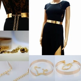 Womens Hot Waist Mirror Wide Obi Gold Plate Chains Waistband Metallic Belt