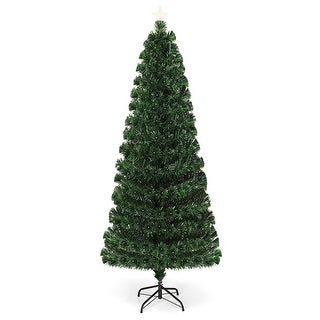 Costway 7Ft Fiber Optic Christmas Tree 275 Multicolor LED Lights - Green