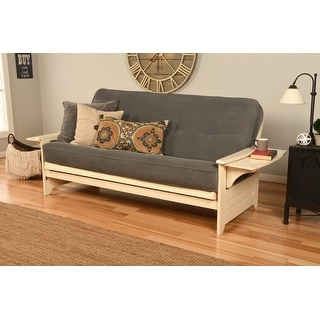 Copper Grove Dixie Futon Frame in Antique White Wood with Innerspring Mattress