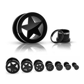 Black Titanium Plated over 316L Steel Screw Fit Tunnel With Star (Sold Individually)