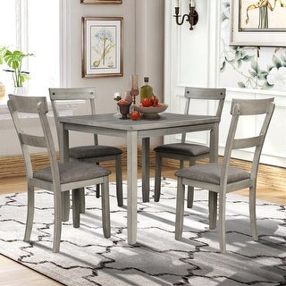 Merax 5-Piece Dining Set Industrial Wooden Kitchen Table and 4 Chairs for Dining Room