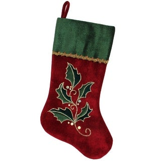 """21"""" Red and Green Holly Embroidered Velvet with Metallic Gold Trim Christmas Stocking"""