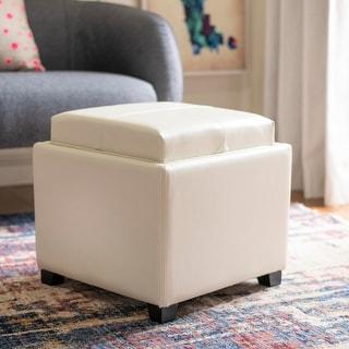 Safavieh Harrison Storage Cream Leather Tray Ottoman