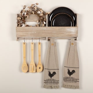 Sawyer Mill Charcoal Poultry Button Loop Kitchen Towel Set of 2 - Kitchen Towel 6.5x18