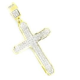Diamond Cross Mens 10K Gold 40mm Tall 1/3cttw Diamonds( 0.33cttw)