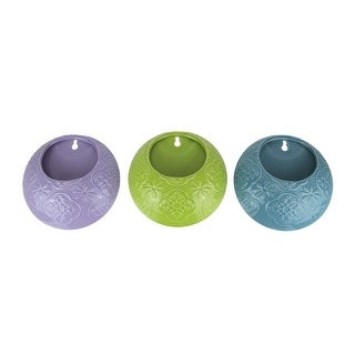 Set of 3 Multi Color Ceramic Mounted Planters Hanging Wall Pocket Flower Pots - 6.25 X 6.25 X 1.75 inches