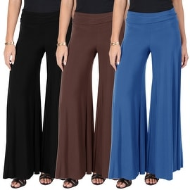 Women's Casual Summer High Waist Plain Solid Relaxed Wide Leg Flared Palazzo Pants