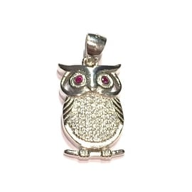 925 Sterling Silver Owl Pendant with Cubic Zirconia