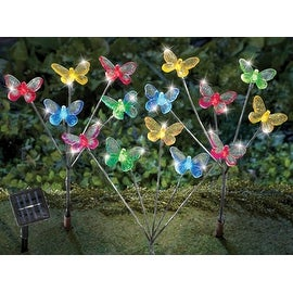 Solar LED Butterfly Garden Stakes - Set of 3