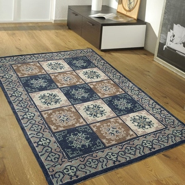 """Blue AllStar Rugs Hand-Made High Quality Extra Clean Wool Area Rug, Vintage Designs and Artistry. Size: 7'10"""" x 10'11"""""""