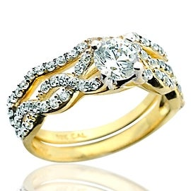 10K Yellow Gold Infinity Style Bridal Wedding Rings Set 7mm Wide 2pc 1ctw CZ