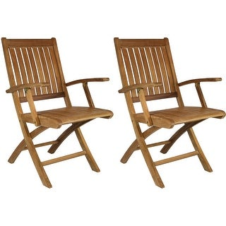 Chic Teak Santa Barbara Teak Wood Folding Arm Chair (set of 2)