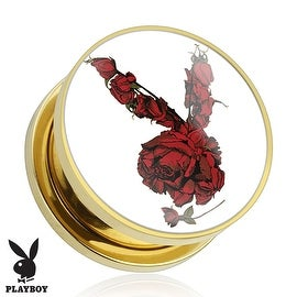 Rose Playboy Bunny Logo Print Gold Plated Screw Fit Plug (Sold Individually)