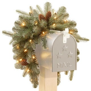 "36"" Pre-Lit Arctic Spruce Mailbox Swag - Clear LED Lights"