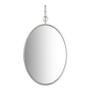 Oval Wall Mirror with Distressed Metal Frame & Hanging Bracket - Distressed Nickel