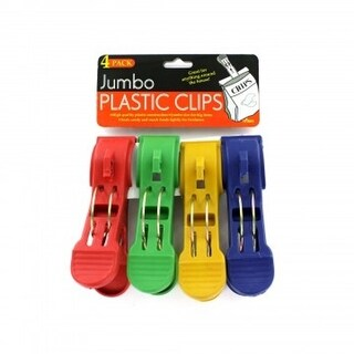 Jumbo High-Quality Plastic Snack Chip Food Bag Clips - 4 Pack - Great for Uses Around The House - Multi-Color