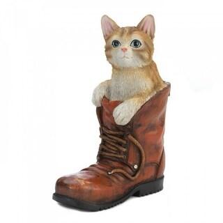 Tabby Cat in A Boot Garden Sculpture