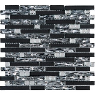 TileGen. Crystal Diamond Wallpaper Random Sized Glass Mosaic Tile in Silver/Black Wall Tile (10 sheets/9.6sqft.)