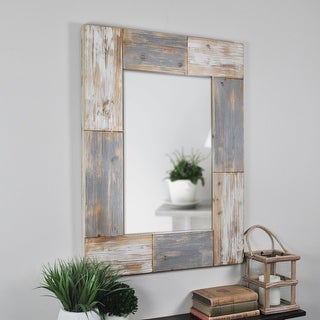 FirsTime & Co.® Mason Farmhouse Planks Mirror, American Crafted, Aged White, Wood, 24 x 1 x 31.5 in - 24 x 1 x 31.5 in