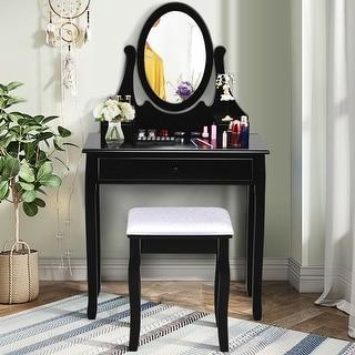 Gymax Bedroom Wooden Mirrored Makeup Vanity Set w/Stool Black