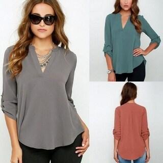 V-Neck Long-Sleeved Chiffon Shirt