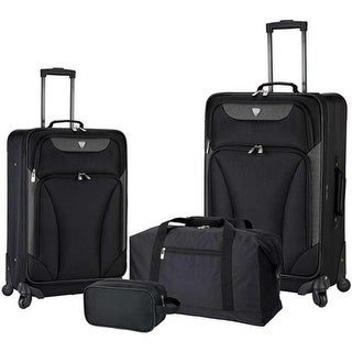 Travelers Club Augusta 4-Piece Soft Side Luggage Set Black - US One Size (Size None)