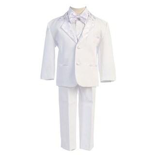 Angels Garment White 5 Piece Satin Vest Tuxedo Baptism Set Boys 3M-4T
