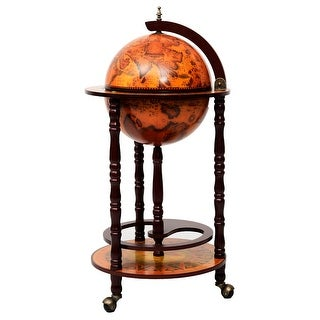 Costway 36'' Wood Globe Wine Bar Stand 16th Century Italian Rack