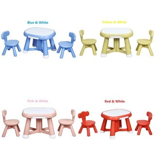 Costway Kids Table and 2 Chair Set w/ Storage Bins for Children