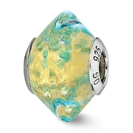 Italian Sterling Silver Reflections Yellowith Teal Murano Glass Bead (4mm Diameter Hole)