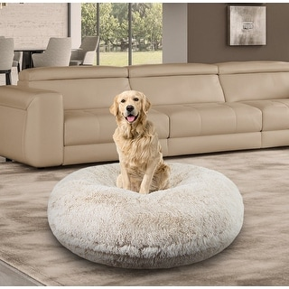Bessie and Barnie Signature Blondie Luxury Shag Extra Plush Faux Fur Bagel Pet/ Dog Bed