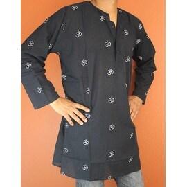 Shirt Tunic Kurta Om Symbol Handmade 100-percent Soft Cotton Gorgeous Black Large