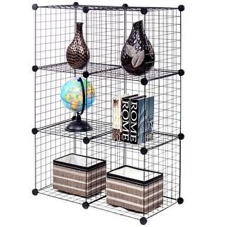 Gymax 6 Cube Grid Wire Organizer Wardrobe Shelves Bookcase DIY