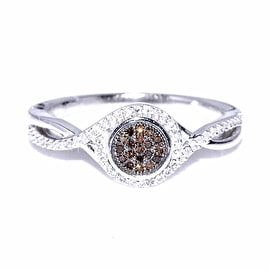 Cognac and White Diamond Engagement Ring Promise Ring 0.18cttw 10K White Gold(I Color 0.18cttw)