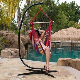Belleze Hammock Chair with C Frame Stand Combo Hanging Rope Solid Steel Frame, Cotton Fabric - standard