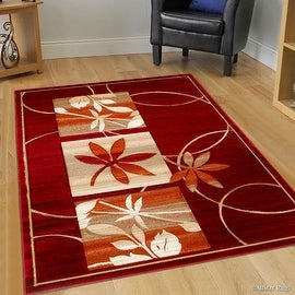 "AllStar Rugs Red Flowers Floral Design Modern Geometric Area Rug (5' 2"" x 7' 2"")"