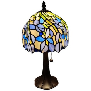 "Tiffany Style Mini Accent Lamp 15"" Tall Stained Glass Purple Floral Iris Flower Bedroom Handmade Gift AM1076TL08B Amora Lighting"