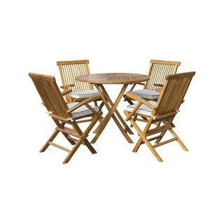 "Seven Seas Teak 5 Piece Teak Wood Long Beach 47"" Round Folding Table with 4 Folding Arm Chairs"